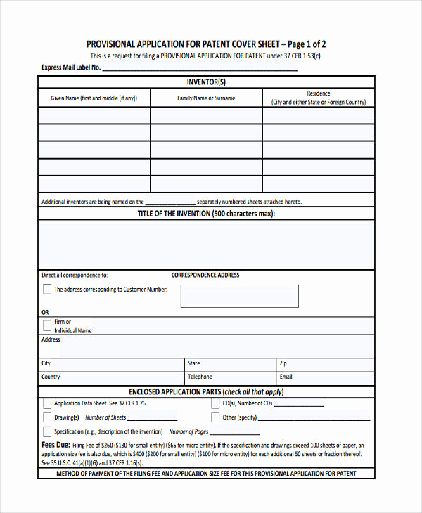 Provisional Patent Application Template Fresh 30 Application Examples