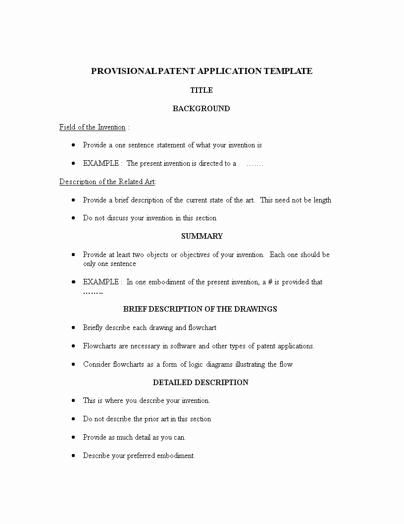 Provisional Patent Application Template Inspirational Free Provisional Patent Application Template