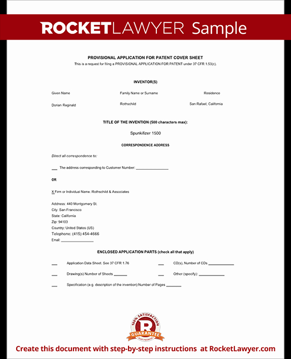 Provisional Patent Application Template Lovely Provisional Patent Application form Free Template with