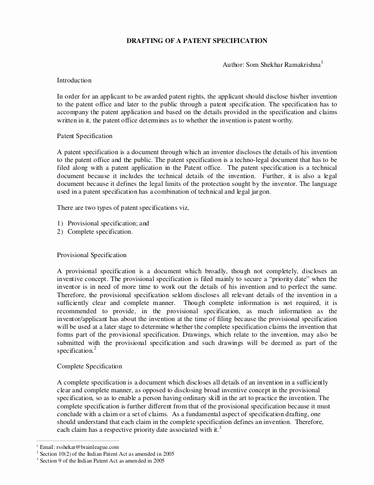 Provisional Patent Application Template Unique Drafting Of A Patent Specification