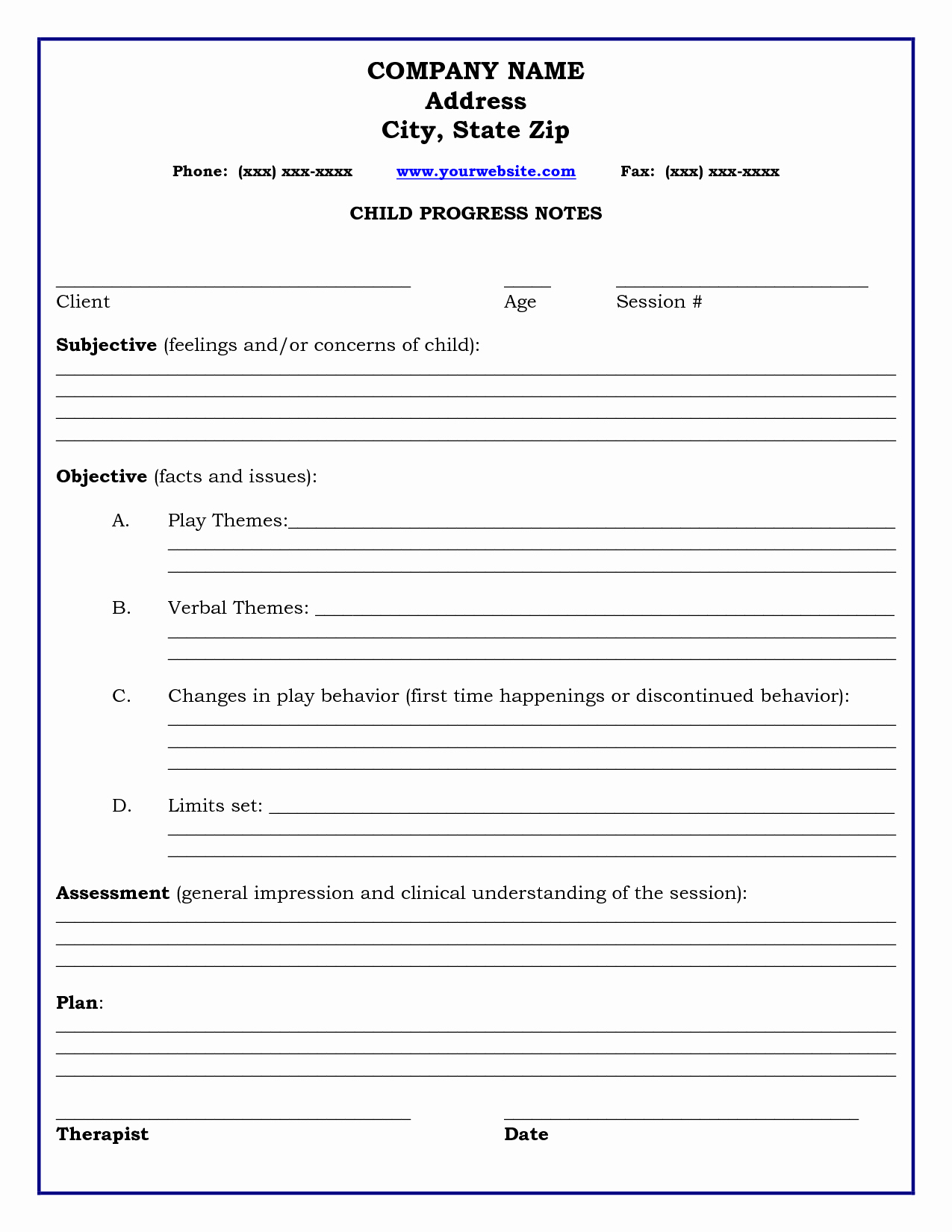 Psychotherapy Progress Notes Template New therapy Progress Note Template