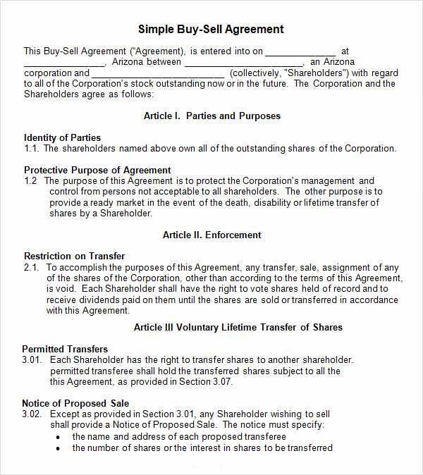 Purchase Agreement Template Word Best Of 18 Sample Buy Sell Agreement Templates Word Pdf Pages