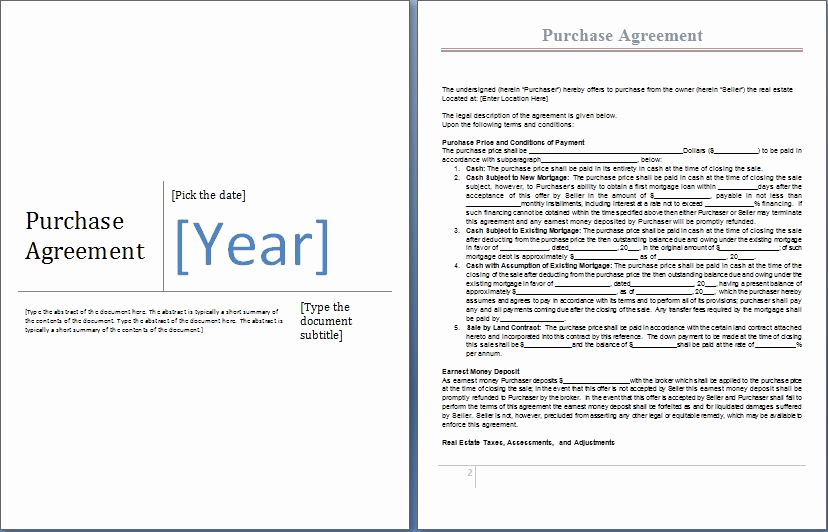 Purchase Agreement Template Word Luxury Ms Word Purchase Agreement form Template