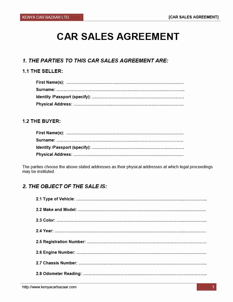 Purchase Agreement Template Word New 42 Printable Vehicle Purchase Agreement Templates
