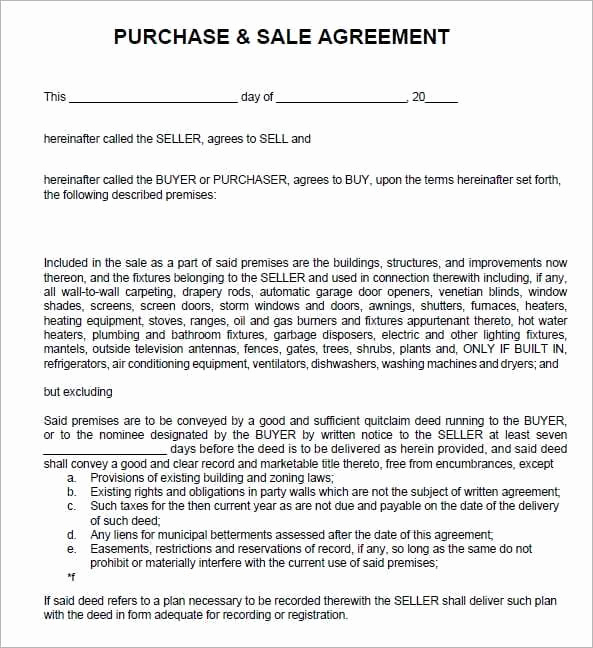 Purchase and Sale Agreement form Beautiful 6 Free Sales Agreement Templates Excel Pdf formats