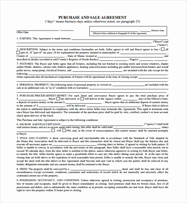Purchase and Sale Agreement form Elegant 12 Sample Purchase and Sale Agreements