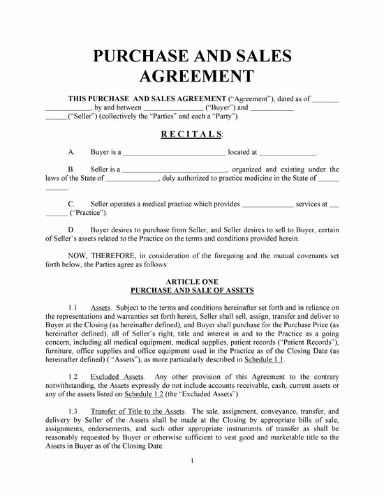 Purchase and Sale Agreement form Inspirational Purchase and Sales Agreement Basic with Exhibits