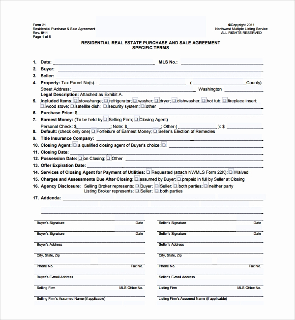 Purchase and Sale Agreement form New 14 Sample Real Estate Purchase Agreement Templates
