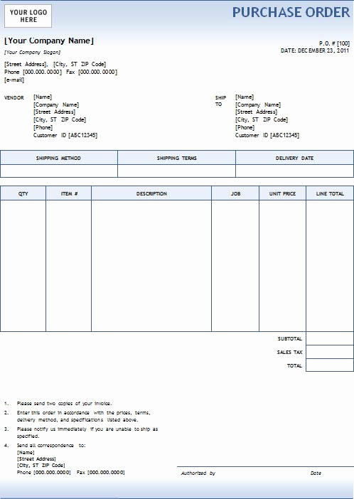 Purchase order Template Word Inspirational 5 Purchase order Templates Excel Pdf formats