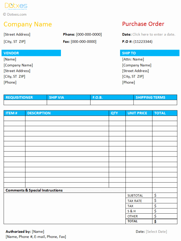 Purchase order Template Word Inspirational Purchase order Template
