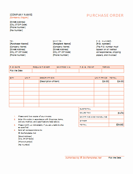 Purchase order Template Word Lovely Document Templates Free Purchase order Template for Pdf