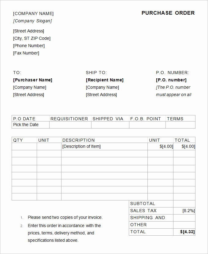 Purchase order Template Word Unique 53 Purchase order Examples Pdf Doc