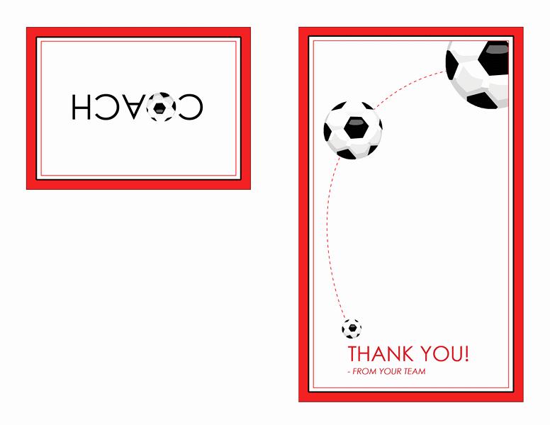 Quarter Fold Card Template Elegant Thank You Card for soccer Coach Quarter Fold Templates