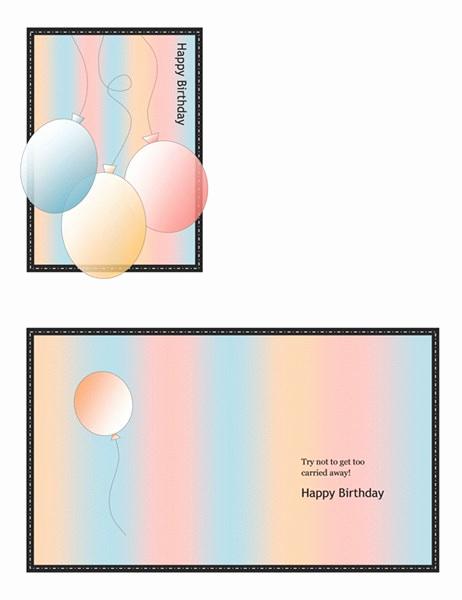 Quarter Fold Card Template New Birthday Fice