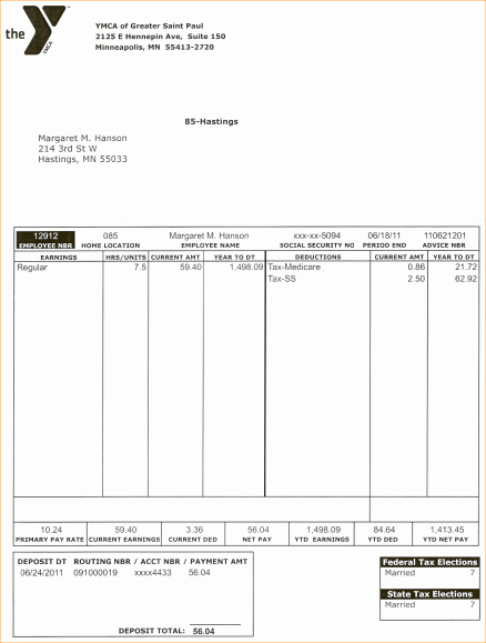 Quickbooks Pay Stub Template Fresh Pay Stub format Letter Examples Quickbooks Example Sample