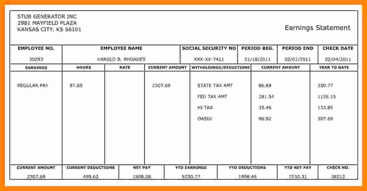 Quickbooks Pay Stub Template Unique 5 1099 Pay Stub Template Excel