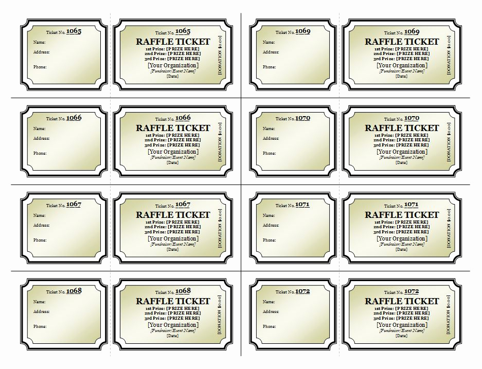Raffle Ticket Template Word Inspirational Raffle Ticket Template