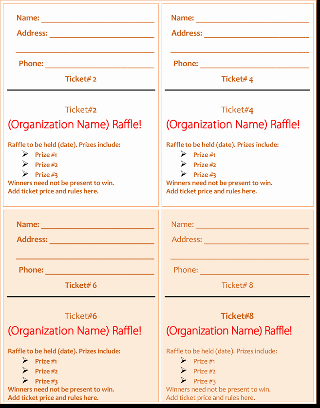 Raffle Ticket Template Word New 20 Free Raffle Ticket Templates with Automate Ticket
