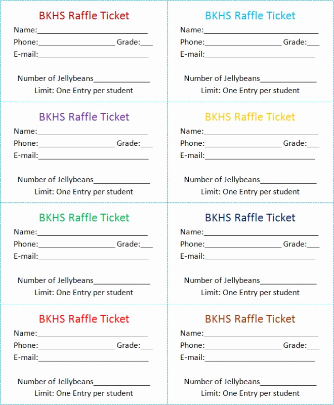 Raffle Ticket Template Word New Raffle Tickets Template