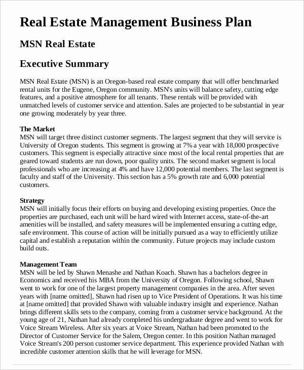 Real Estate Business Plan Template Luxury 29 Free Business Plan Templates