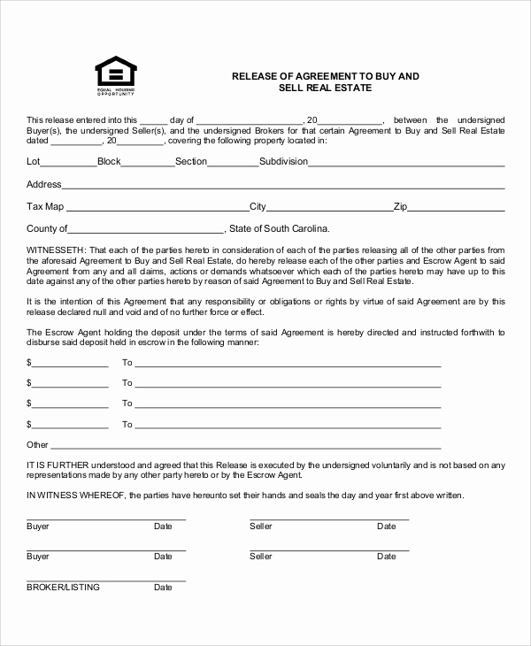 Real Estate Contract form Awesome 10 Sample Contract Release forms