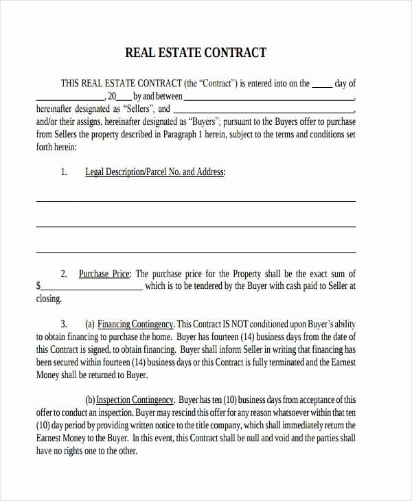 Real Estate Contract form Best Of 7 Real Estate Contract form Samples Free Sample