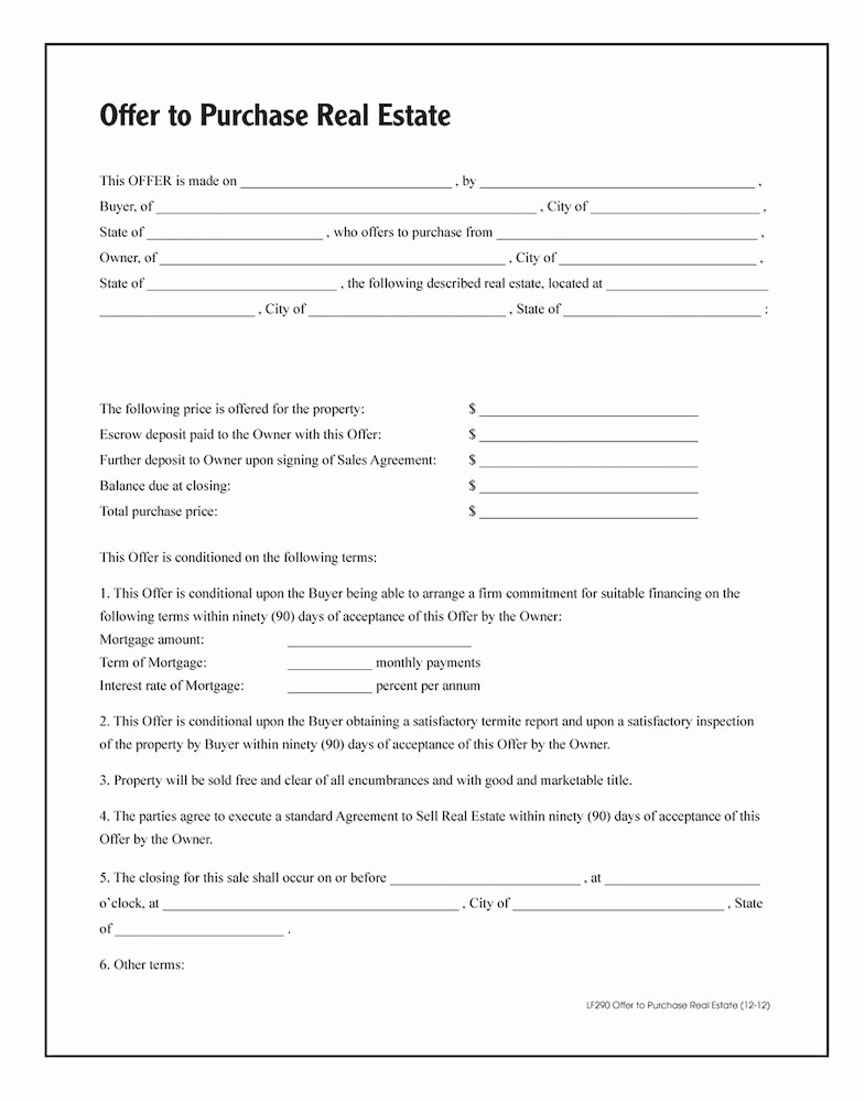 Real Estate Contract form Elegant Fer to Purchase Real Estate forms and Instructions