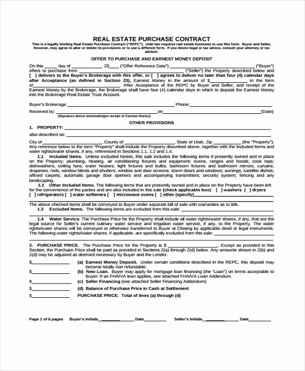 Real Estate Contract form Inspirational Sample Contract forms
