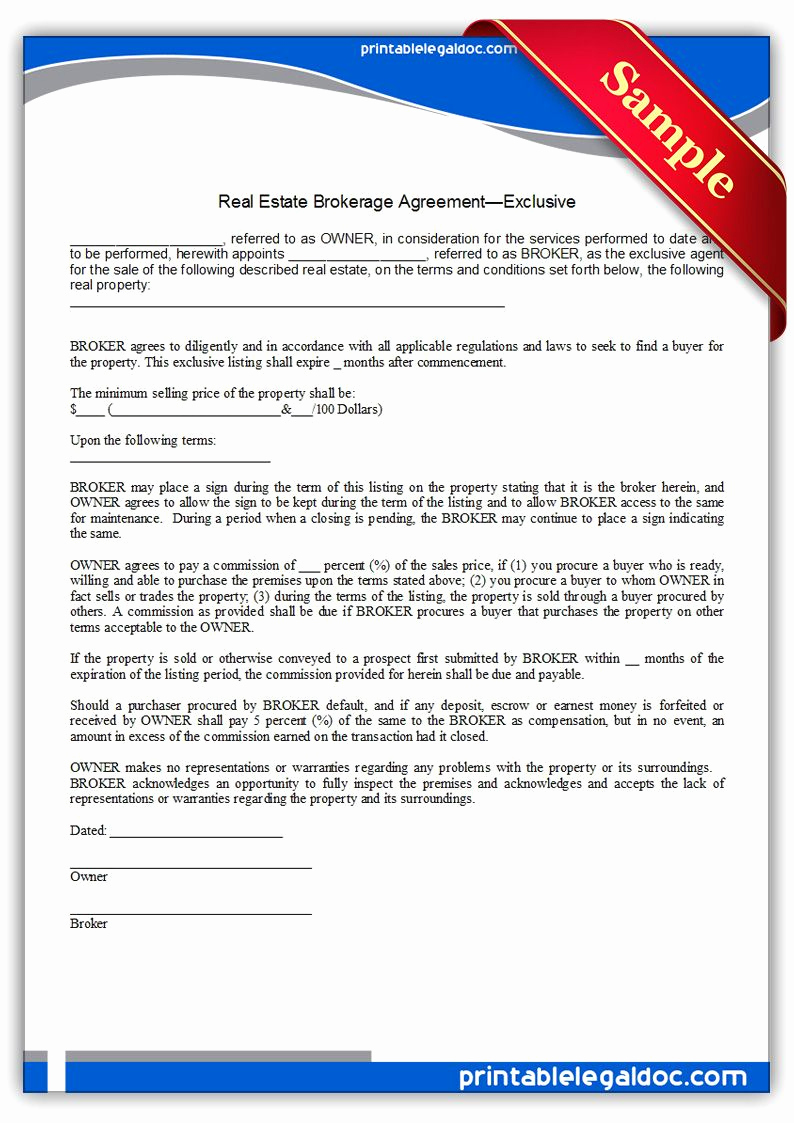 Real Estate Contract form Luxury Free Printable Real Estate Brokerage Agreement Exclusive