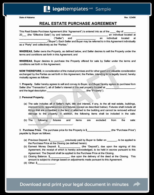 Real Estate Contract form Unique Real Estate Purchase Agreement