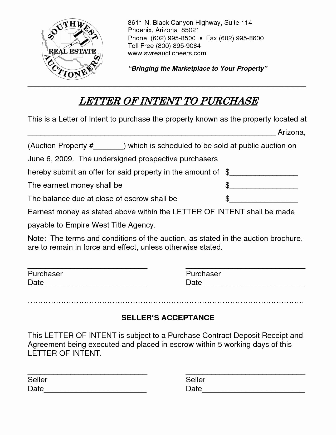 Real Estate Letter Of Intent Elegant Sample Letter Intent to Purchase Real Estate Free