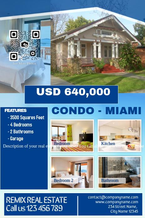 Real Estate Marketing Flyers Unique Real Estate Marketing Flyer Blue Template
