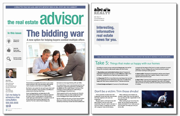 Real Estate Newsletter Templates Awesome Real Estate Advisor Newsletter Template Volume 3 issue 4