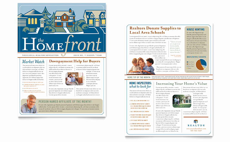 Real Estate Newsletter Templates Fresh Real Estate Agent Newsletter Template Word & Publisher