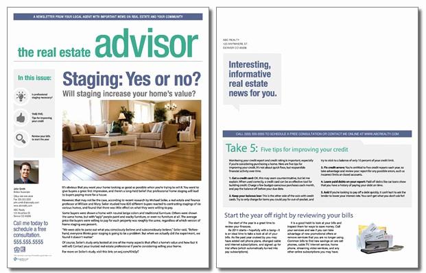 real estate advisor newsletter template volume 3 issue 01