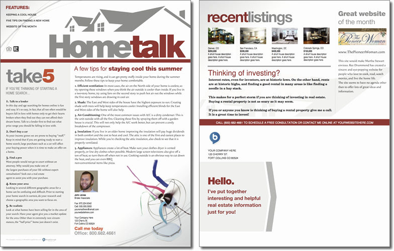Real Estate Newsletter Templates Lovely Hometalk Newsletter Template issue 1