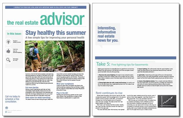 Real Estate Newsletter Templates New Real Estate Advisor Newsletter Template Volume 3 issue 7