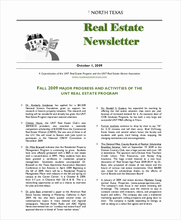 Real Estate Newsletter Templates Unique 5 Sample Real Estate Newsletters