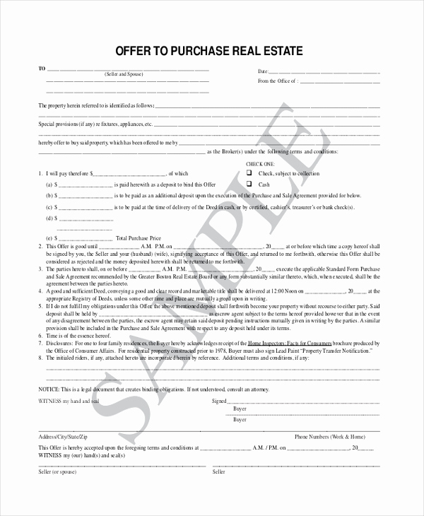 Real Estate Offer form Awesome Sample Fer to Purchase Real Estate form 7 Free