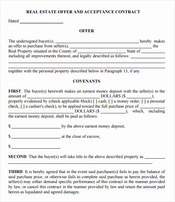 Real Estate Offer form Lovely Sample Fer to Purchase Real Estate form 9 Documents