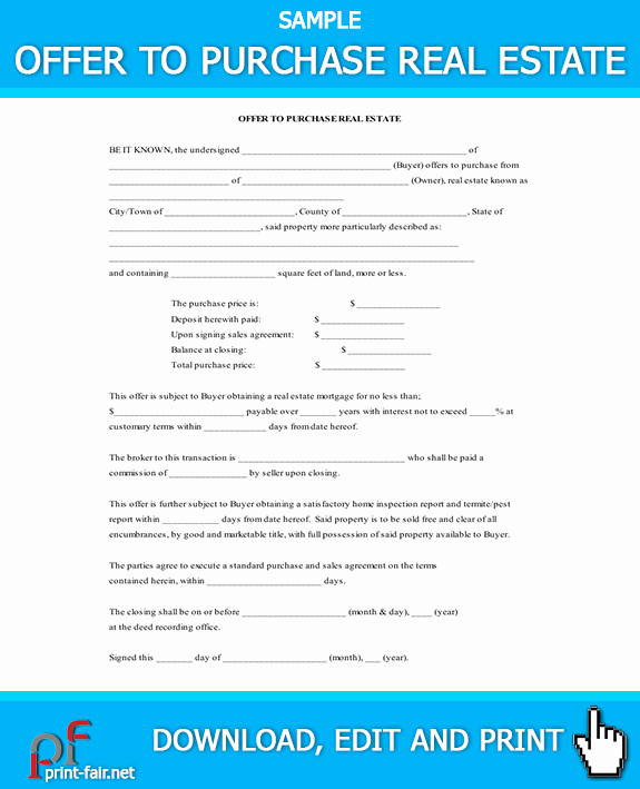Real Estate Offer form New Fer to Purchase Real Estate