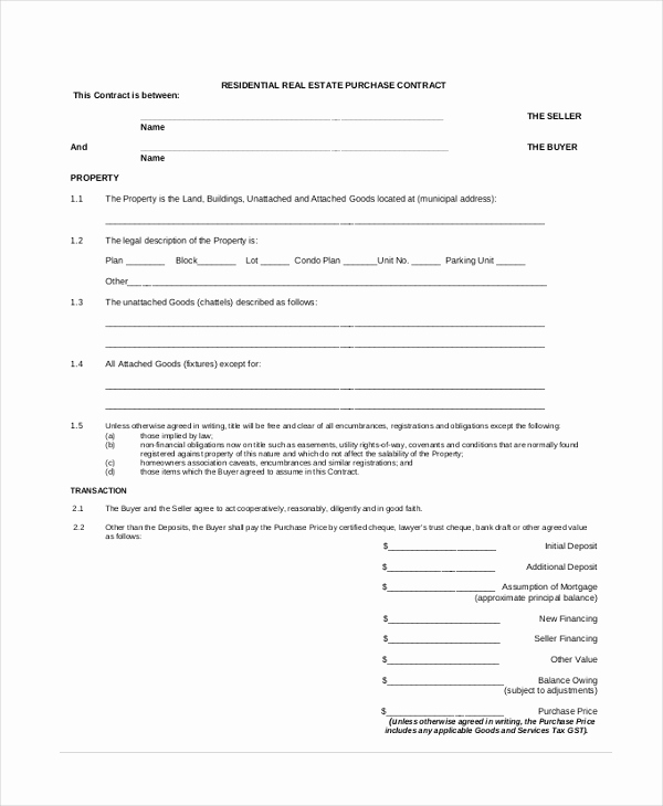 Real Estate Offer form Unique Sample Fer to Purchase Real Estate form 7 Free