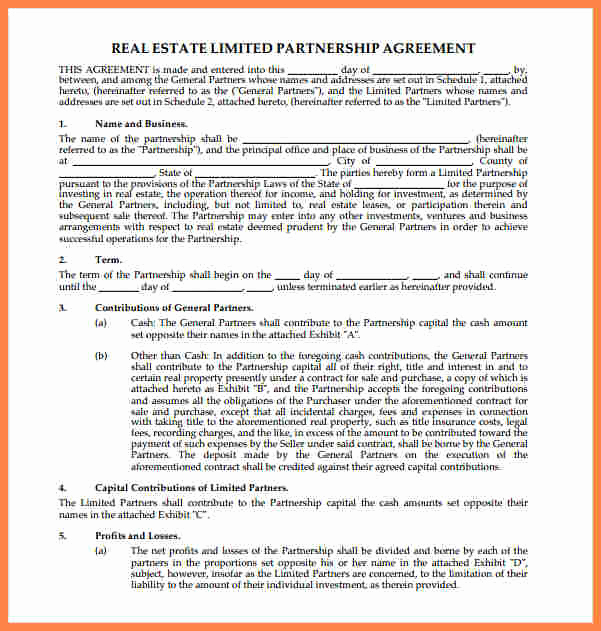 Real Estate Partnership Agreement Luxury 8 Real Estate Partnership Agreement Template