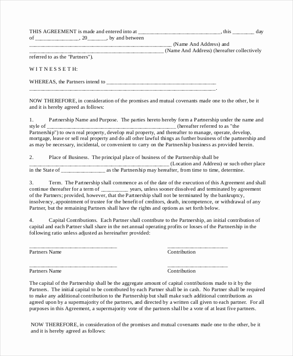 Real Estate Partnership Agreement New 17 General Partnership Agreement Samples and Examples