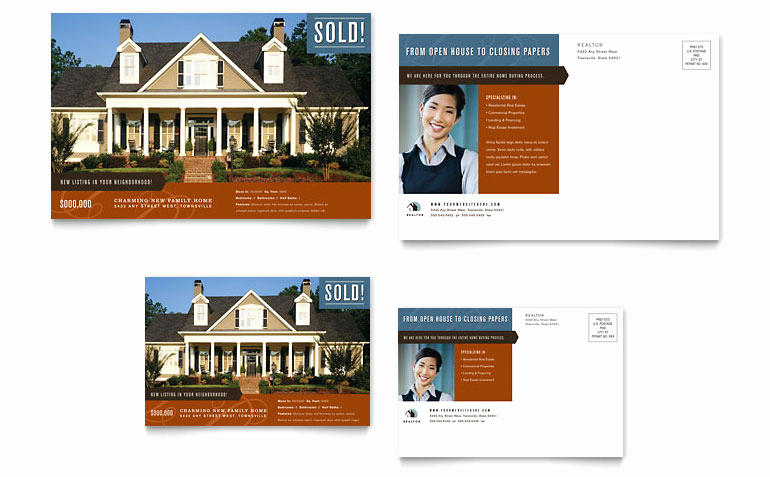 Real Estate Postcard Templates Awesome Residential Realtor Postcard Template Word & Publisher