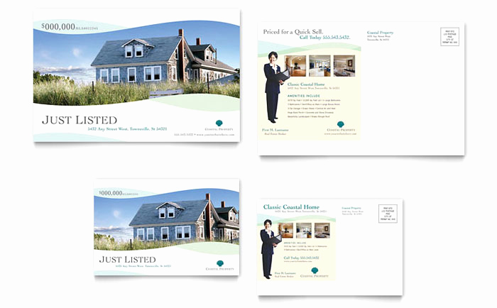 Real Estate Postcard Templates Beautiful Coastal Real Estate Postcard Template Design