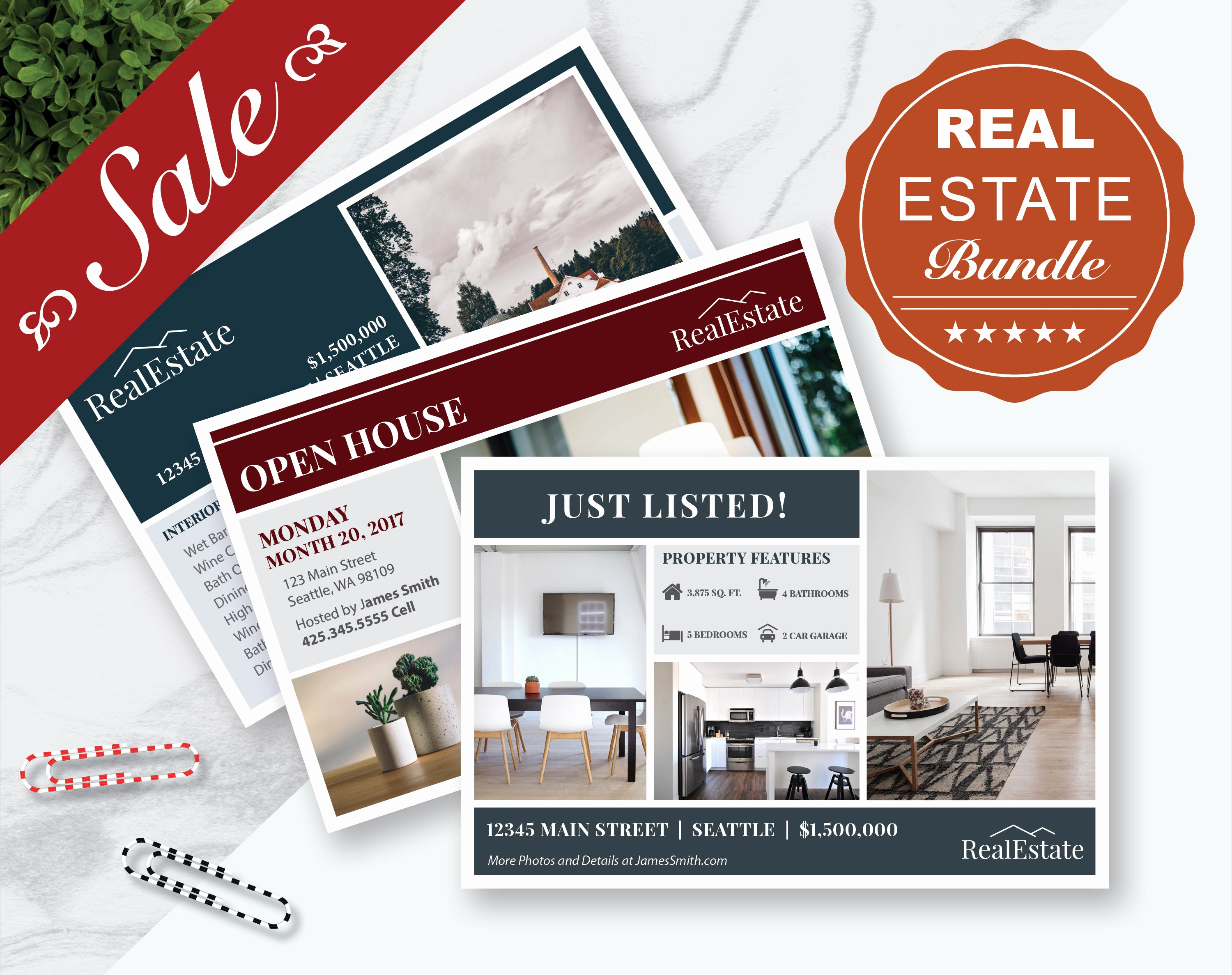 Real Estate Postcard Templates Elegant Real Estate Marketing Postcards Bundle 3 Postcard Templates