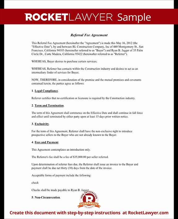 Real Estate Referral form Beautiful Referral Fee Agreement Template form with Sample