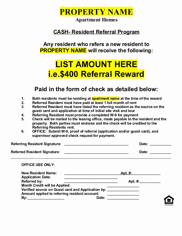 Real Estate Referral form Fresh Resident Referral form Cash