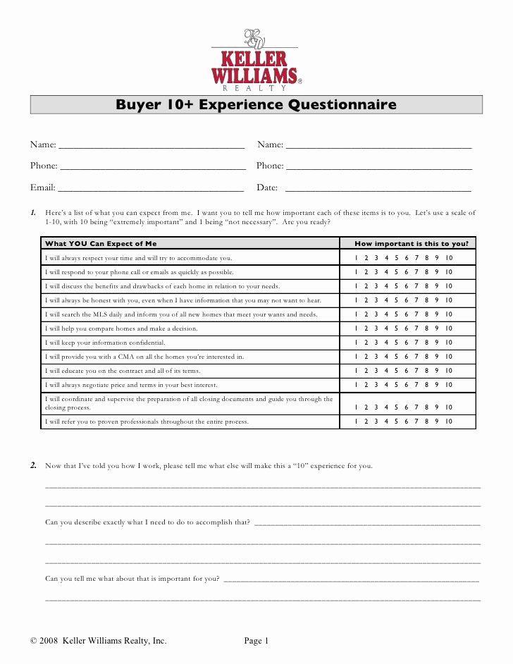Real Estate Referral form Luxury Buyer 10 Experience Questionnaire